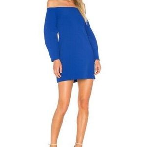 Susana Monaco Blue off the shoulder mini dress